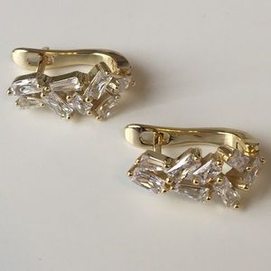 14K Gold plated Angular CZ hinged earrings